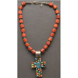 NAVAJO INDIAN CROSS AND WESTERN NECKLACE