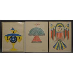 THREE PUEBLO INDIAN SCHOOL DRAWINGS