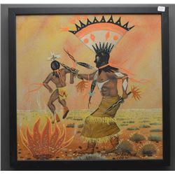 NAVAJO INDIAN SAND PAINTING (MEDICINE CROW)