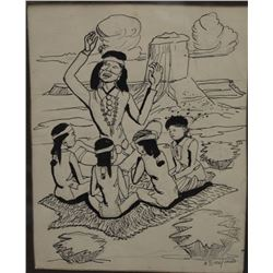 NAVAJO INDIAN PAINTING (TSIAJINNIE)