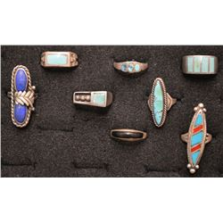 EIGHT NAVAJO INDIAN RINGS