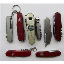 8 VINTAGE SWISSARMY STYLE POCKET KNIVES/MULTI TOOL