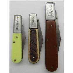 3 VINTAGE BARLOW POCKET KNIVES.