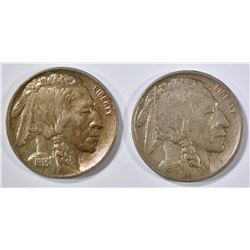 1913 TYPE 1 XF & TYPE 2 AU BUFFALO NICKELS
