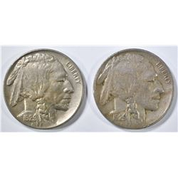 1929-D XF, & 29-S AU BUFFALO NICKELS