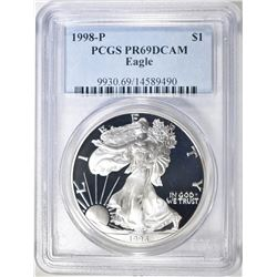 1998-P AMERICAN SILVER EAGLE, PCGS PR-69 DCAM