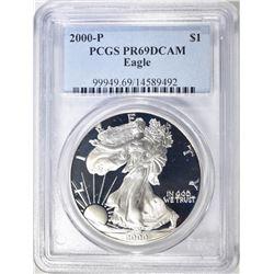 2000-P AMERICAN SILVER EAGLE, PCGS PR-69 DCAM