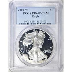 2001-W AMERICAN SILVER EAGLE, PCGS PR-69 DCAM