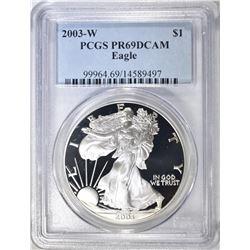 2003-W AMERICAN SILVER EAGLE, PCGS PR-69 DCAM