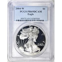 2004-W AMERICAN SILVER EAGLE, PCGS PR-69 DCAM
