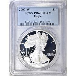 2007-W AMERICAN SILVER EAGLE, PCGS PR-69 DCAM