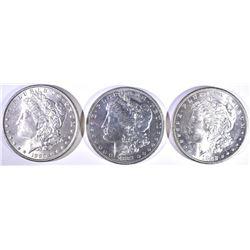 (3)  MORGAN DOLLARS: 1881-O, 1882-S FLASHY