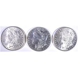 (3)  MORGAN DOLLARS: 1881-O, 1882-S FLASHY