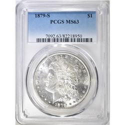 1879-S MORGAN DOLLAR, PCGS MS-63