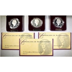 3-1993 JEFFERSON PROOF COMMEM SILVER DOLLARS