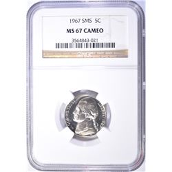 1967 SMS JEFFERSON NICKEL, NGC MS-67 CAMEO