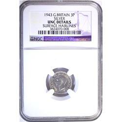 1943 G. BRITAIN 3 PENCE SILVER, NGC UNC details