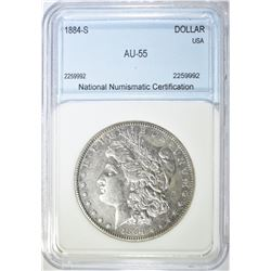 1884-S MORGAN DOLLAR NNC AU BU