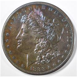 1883-S MORGAN DOLLAR  BU  RAINBOW TONING