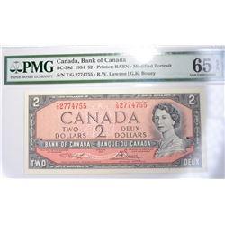 1954 $2 CANADA  PMG 65 EPQ GEM UNC.