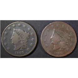 1832 N-2 & 32 N-3 LARGE CENTS VG