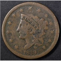 1839 HEAD OF 38 CORONET LARGE CENT, VF