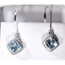 SKY BLUE TOPAZ AND DIAMOND DANGLE EARRINGS IN STER