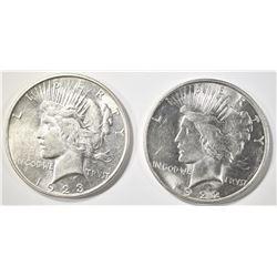 1922-D & 1923-D PEACE DOLLARS  CH BU