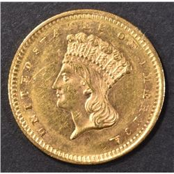 1858 GOLD $1 INDIAN PRINCESS HEAD CH BU