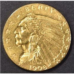 1908 GOLD $2.50 INDIAN HEAD  CH BU