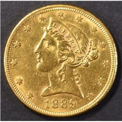 1889 GOLD $5 LIBERTY HEAD CH BU  MOTTO ABOVE EAGLE