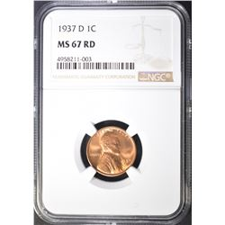 1937-D LINCOLN CENT NGC MS-67 RD