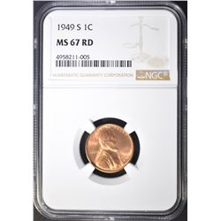 1949-S LINCOLN CENT NGC MS-67 RD