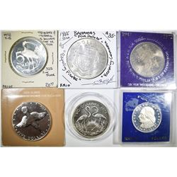 6-LARGE STERLING SILVER FOREIGN COINS