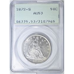"1872-S SEATED HALF DOLLAR, PCGS AU-53 ""RATTLER"""