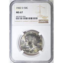 1982-D KENNEDY HALF DOLLAR NGC MS-67
