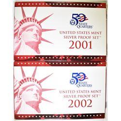 2001 & 2002 U.S. SILVER PROOF SETS ORIG BOXES/COA