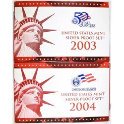 2003 & 2004 U.S. SILVER PROOF SETS ORIG BOXES/COA