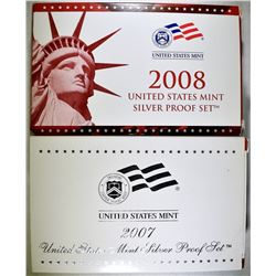 2007 & 2008 U.S. SILVER PROOF SETS  ORIG PACKAGING