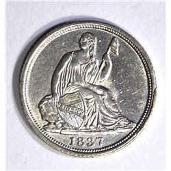 1837 SEATED HALF DIME, CH BU