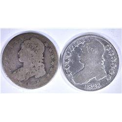 2 - BUST HALF DOLLARS; 1834 AG &
