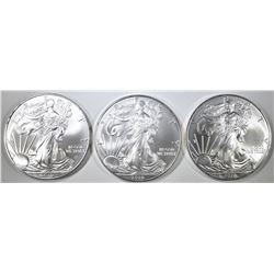 3- GEM BU 2010 AMERICAN SILVER EAGLES