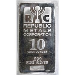 TEN OUNCE REPUBLIC METALS 10-OUNCE SILVER BAR