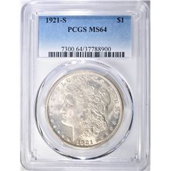 1921-S MORGAN DOLLAR PCGS MS-64