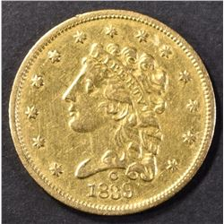 1839-O $2.5 CLASSIC HEAD GOLD AU/BU OLD CLEANING