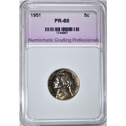 1951 JEFFERSON NICKEL, NGP SUPERB GEM PROOF++
