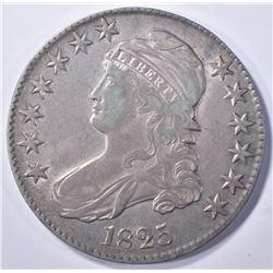 1825 BUST HALF DOLLAR, XF+