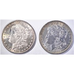 1878-S FLASHY & 1885 CH BU MORGAN DOLLARS