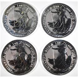4-2018 1oz SILVER BRITISH BRITANNIA COINS