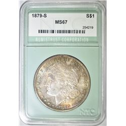 1879-S MORGAN DOLLAR, NTC SUPERB GEM BU+ TONING